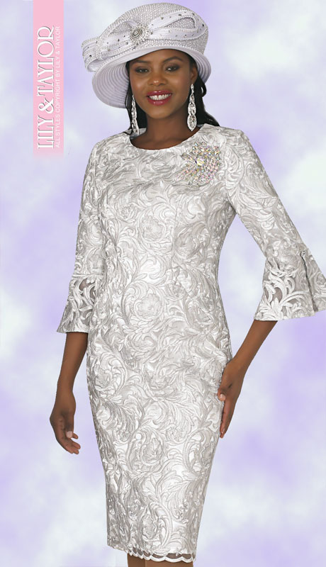 Lily And Taylor 4292-WH ( 1pc Womans Silky Lace Church Dress With Brocade Pattern And  Jeweled Brooch )
