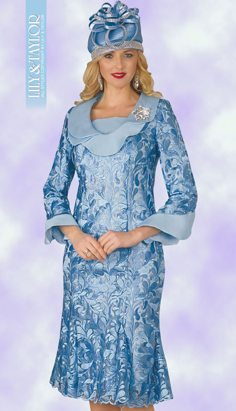 Lily And Taylor 3852-IC ( 1pc Womans Jacquard Dress For Church With Floral Shaped Collar And Cuffs With Jeweled Brooch )