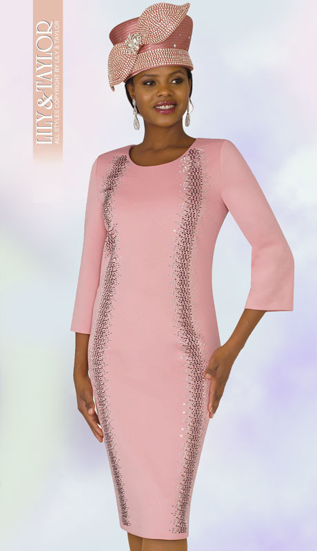 Lily And Taylor 4347-RO-IH ( 1pc Womans Knit Dress For Church With Full Length Jeweled Trim )