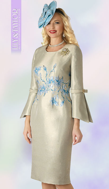 Lily And Taylor 4370-MT ( 1pc Novelty Womans Church Dress With Flared Sleeves And Jeweled Brooch )