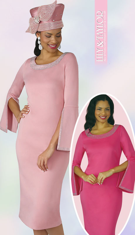 Lily And Taylor 4153-RO-IH ( 1pc Knit First Lady Dress With With Split Bell Cuff And Rhinestone Details )