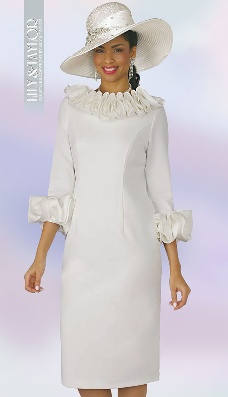 Lily And Taylor 4375-IV ( 1pc Ladies Knit Church Dress With Ruffle Neckline And Cuffs )