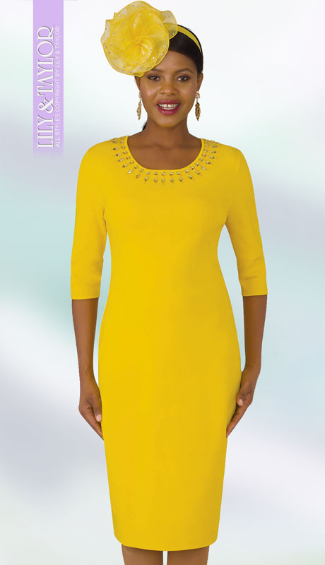 Lily And Taylor 633-YE ( 1pc Womans Knit Church Dress With Elbow Length Sleeves Jeweled Neckline )
