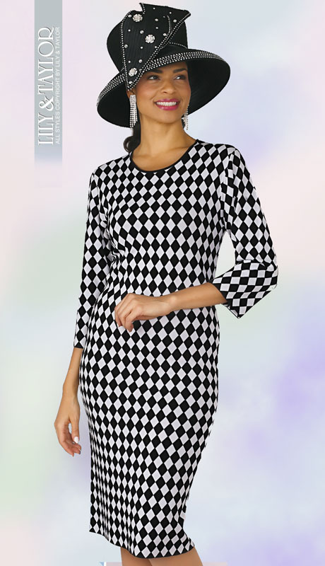 Lily And Taylor 634-BL ( 1pc Womans Knit Church Dress With Nouveau Diamond Check Pattern )