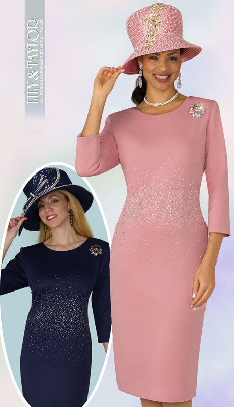 Lily And Taylor 4090-MA ( 1pc Scuba Knit Womens Church Dress With Rhinestone Embellisments And Brooch )