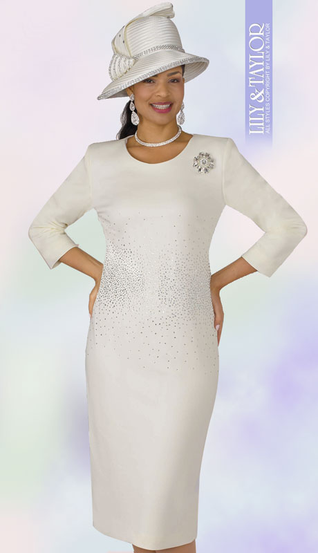 Lily And Taylor 4090-IV ( 1pc Scuba Knit Womens Church Dress With Rhinestone Embellisments And Brooch )