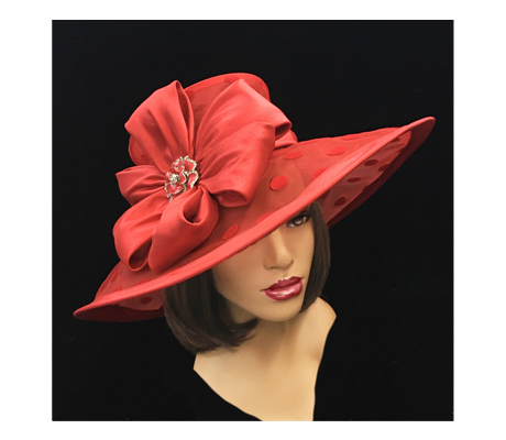 2216 Lola ( Large Polka Dot Illusion Brim With Pinwheel Bow )