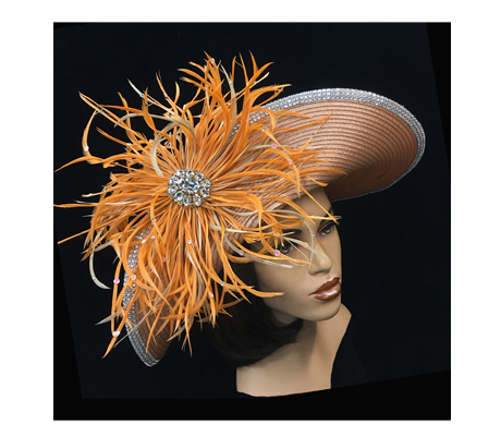 2241 Dolly ( Feather Fireworks Adorn This Fashionable Upbrim Hat )