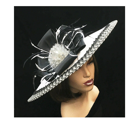 2250 Hera ( Contrast Trim Picture Brim With Flower And Feather Sprigs )
