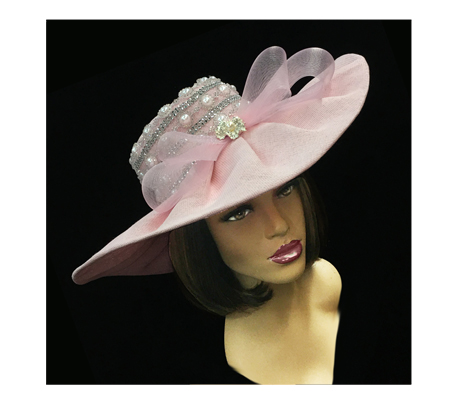 2251 Zola ( Pearl And Rhinestone Trimmed Draped Skimmer Hat )