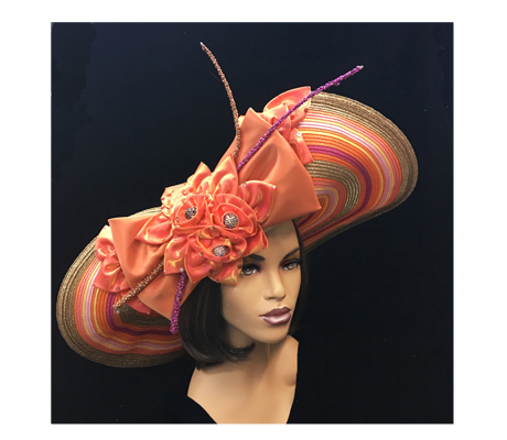 2252 Electra ( Striped Deaville Brim Hat With Florettes And Jewel Quills )