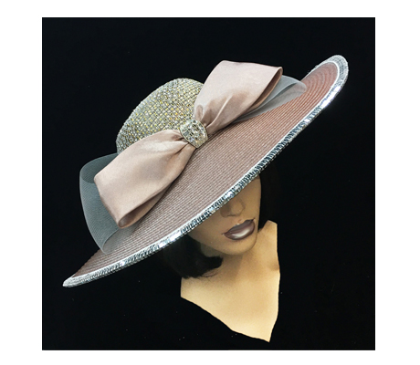 2260 Kirby ( Elegant Jewel Crown Derby Hat With Bow )