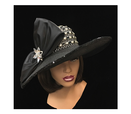 2267 Kira ( Jewel Encrusted Large Brim Hat With Bow )