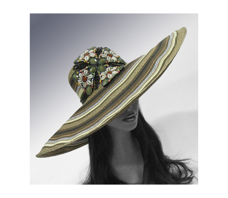 1802 Gauguin ( Large Brim Poolside Hat With Faux Gem And Shell Applique )