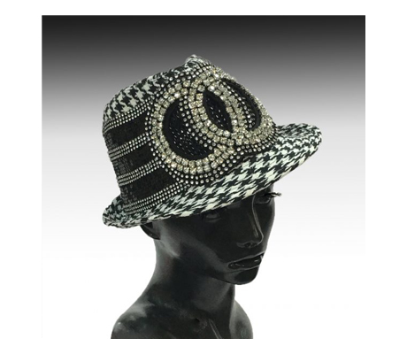 1897LE Minnie ( Animal Print Mini Fedora With Rhinestone Circles )
