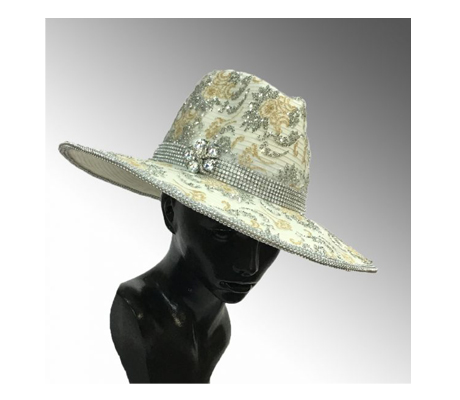 2143 Capone ( Large Fedora With Metallic Lace Overlay )