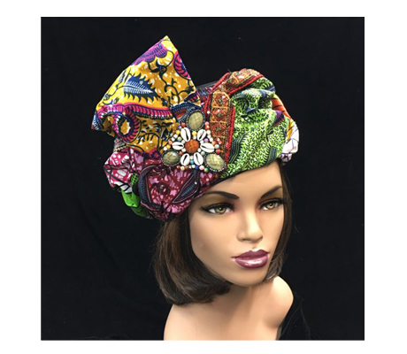 2220 Micmac ( Turban In Exotic Melange Of Tribal Fabrics )