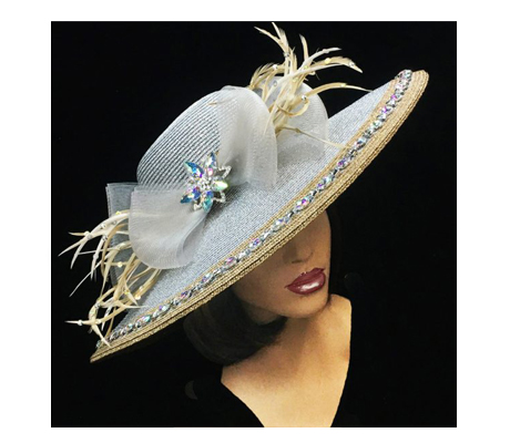 2248 Nicola ( Crystal Edged Metallic Brim With Bow )
