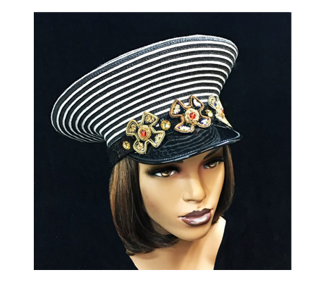 2269 Pepper ( Striped Nautical Cap With Intricate Bullion Embroidery )