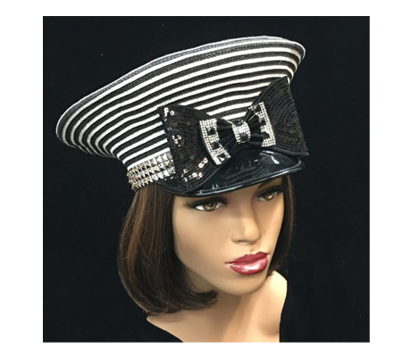 2270 Naomi ( Fun Striped Mod Cap With Sequins )