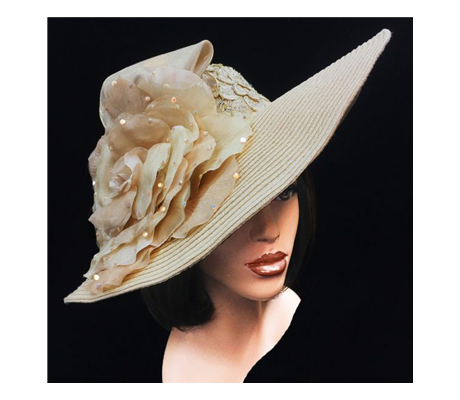 2277 Bridgehampton ( Sweeping Brim With Lace Crown And Delicate Bloom )