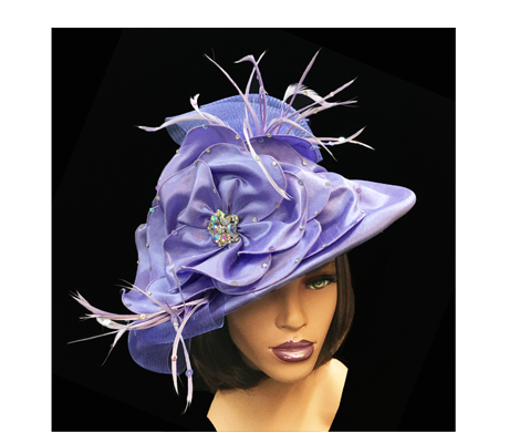 2015 Sundae ( Draped Satin Hat With Flower And Feathers )