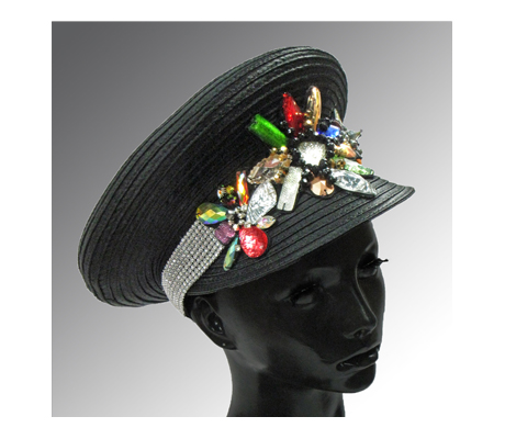 2092 Pigalle Captain's Cap ( Captains Cap With Collaged Jewels )