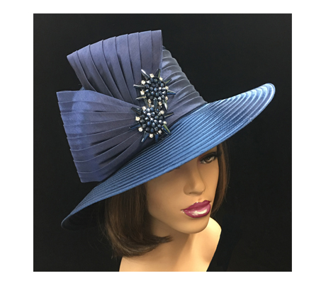 2146 Mochi ( Medium Brim Hat With Pleated Fan Bow )