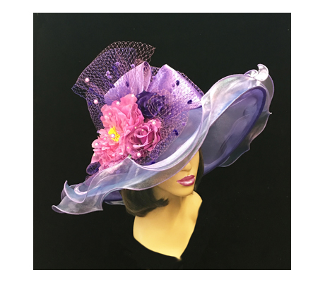 2200 Penelope ( Diaphanous Organza Brim Hat With Garden Blooms )