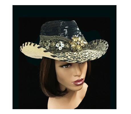 SC2087 Greystoke ( Sequin Crown; Leopard Brim Cowboy )