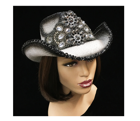 SC1893 Angel ( Ombred White/Black Cowboy Beaded Applique )
