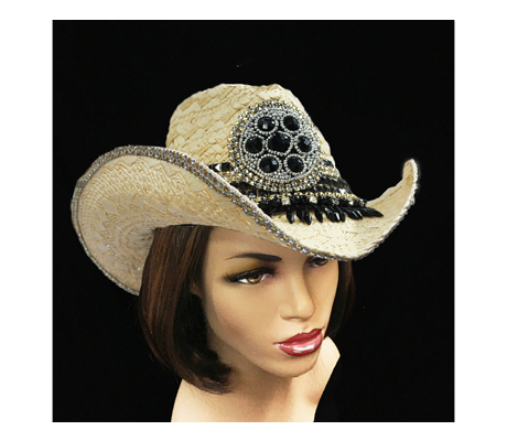 SC1714 Jet Cowboy ( Natural Straw Cowboy With Faux Jet Beads )