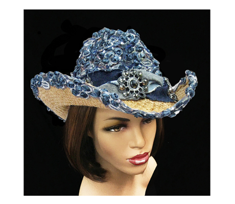 SC1219 Shiloh ( Natural Straw Cowboy With Denim Crown And Edge )