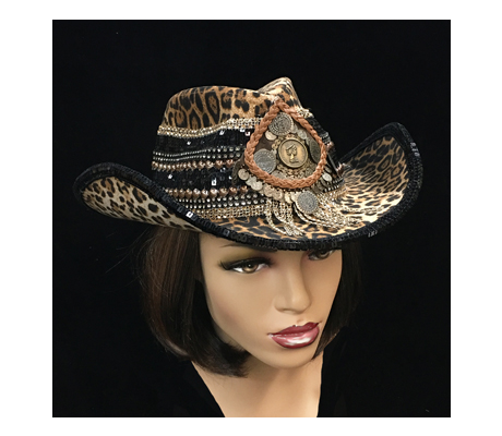 SC1128 Cheetah ( Animal Print Cowboy With Beaded Band )
