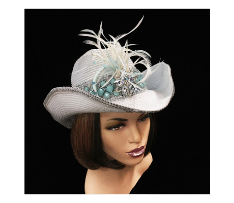 SC1084 Navajo Western Hat ( Cowboy With Turquoise Band And Spray Of Feathers )