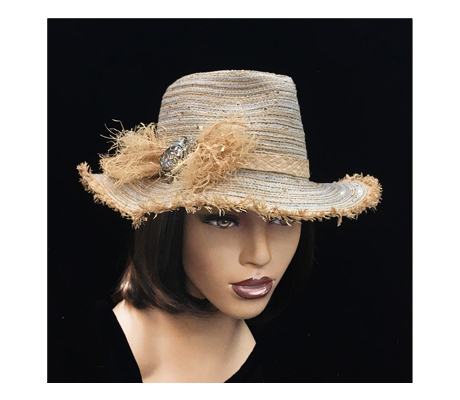 2278 Calypso ( Finely Woven Fedora With Whimsical Raffia Trim )