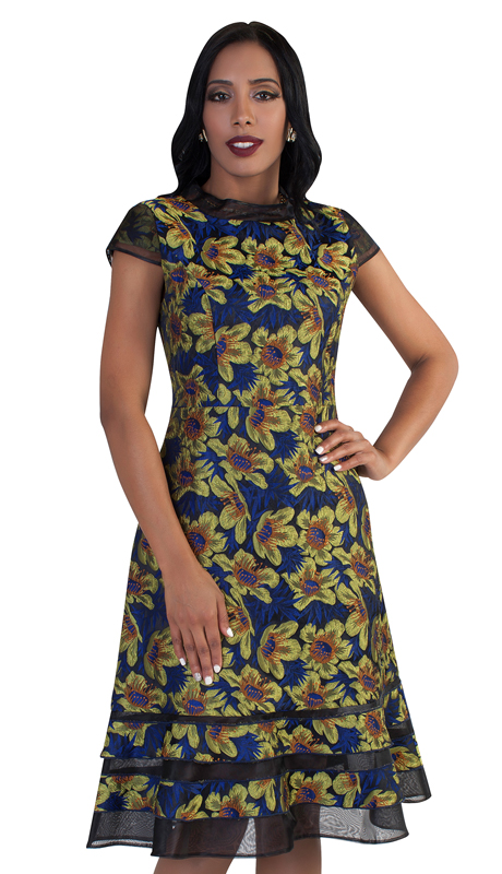 Chancelle 9490-GN ( 1pc Multi Tone Floral Print And Mesh Detail On Bottom Dress )
