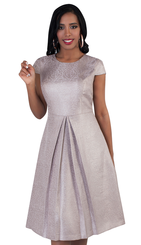 Chancelle 9488-PI ( 1pc Ladies Dress With Shimmering Glitter And Pleat Detailing )