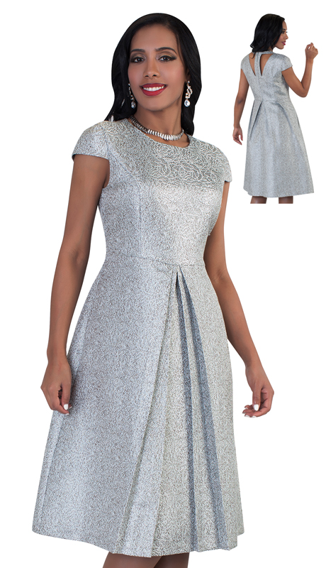 Chancelle 9488-GR ( 1pc Ladies Dress With Shimmering Glitter And Pleat Detailing )