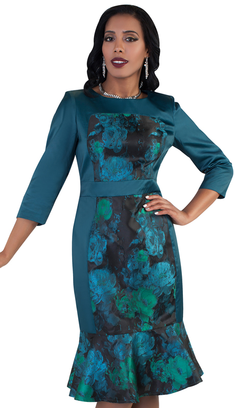 Chancelle 9486-GR ( 1pc Ladies Novelty Dress With Floral Print And Fashionable Mermaid Flare )
