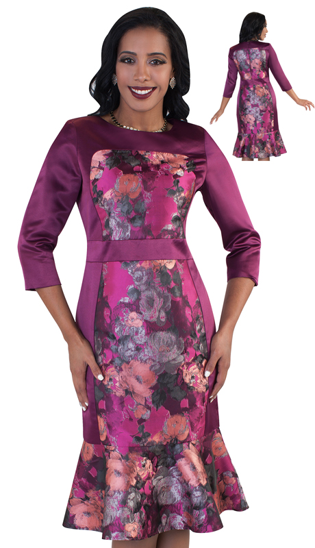 Chancelle 9486-FU ( 1pc Ladies Novelty Dress With Floral Print And Fashionable Mermaid Flare )