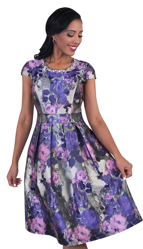 Chancelle 9485-PU ( 1pc Ladies Dress In Floral Patterned Brocade, Cap Sleeve, Pleated Waist And Rhinestone Embellished Neckline )