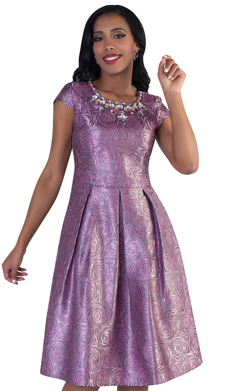Chancelle 9484-PL ( 1pc Ladies Brocade Dress In Beautiful Floral Print With Ornate Jeweled Neckline )