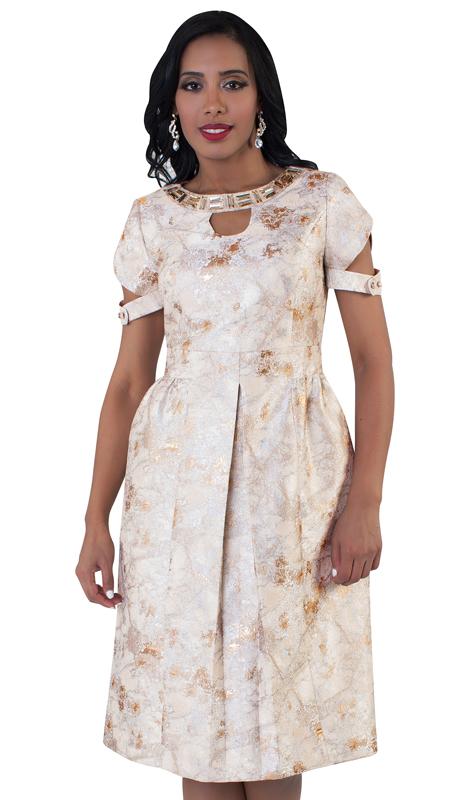 Chancelle 9496-BG ( 1pc Ladies Short Sleeve Brocade Print And Jeweled Neckline Dress )