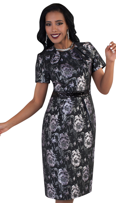 Chancelle 9480-LB ( 1pc Short Sleeve Dress With Beautiful Floral Print And Sequins Detail On Waist )