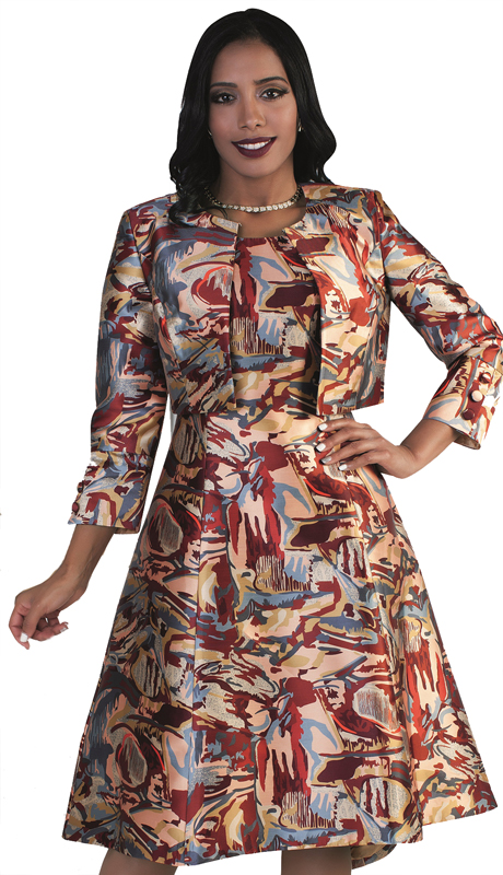 Chancelle 9477-RM-CO ( 2pc Dress And Jacket With Unique Abstract Print On Waist Dress )