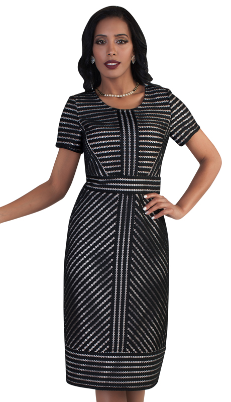 Chancelle 9494-BLK-CO ( 1pc Ladies Short Sleeve Trimming Dress )