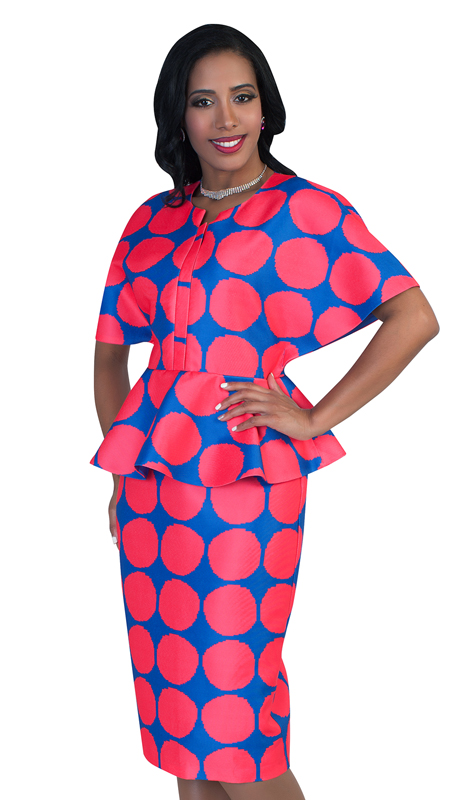 Chancelle 9493-RF ( 1pc Polka Dots Pattern With Wide Sleeves And Peplum Detail Dress )