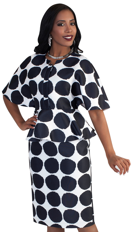 Chancelle 9493-BW ( 1pc Polka Dots Pattern With Wide Sleeves And Peplum Detail Dress )