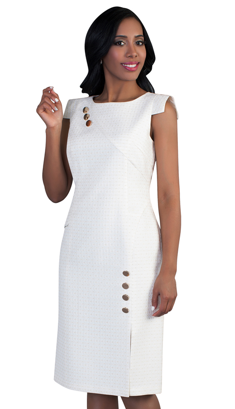 Chancelle-WH 9492 ( 1pc Womens Dress Embellished With Buttons And Cap Sleeves )